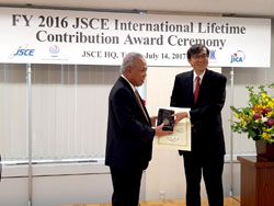 Menteri Pekerjaan Umum dan Perumahan Rakyat (PUPR) Basuki Hadimuljono menerima penghargaan International Lifetime Contribution Award 2017 dari Perhimpunan Insinyur Jepang atau Japan Society of Civil Engineers (JSCE).